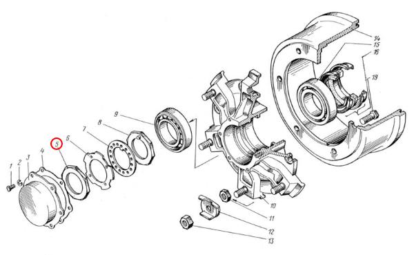 Схема установки гайки Н129.00.415 на ступицу Н129.00.301